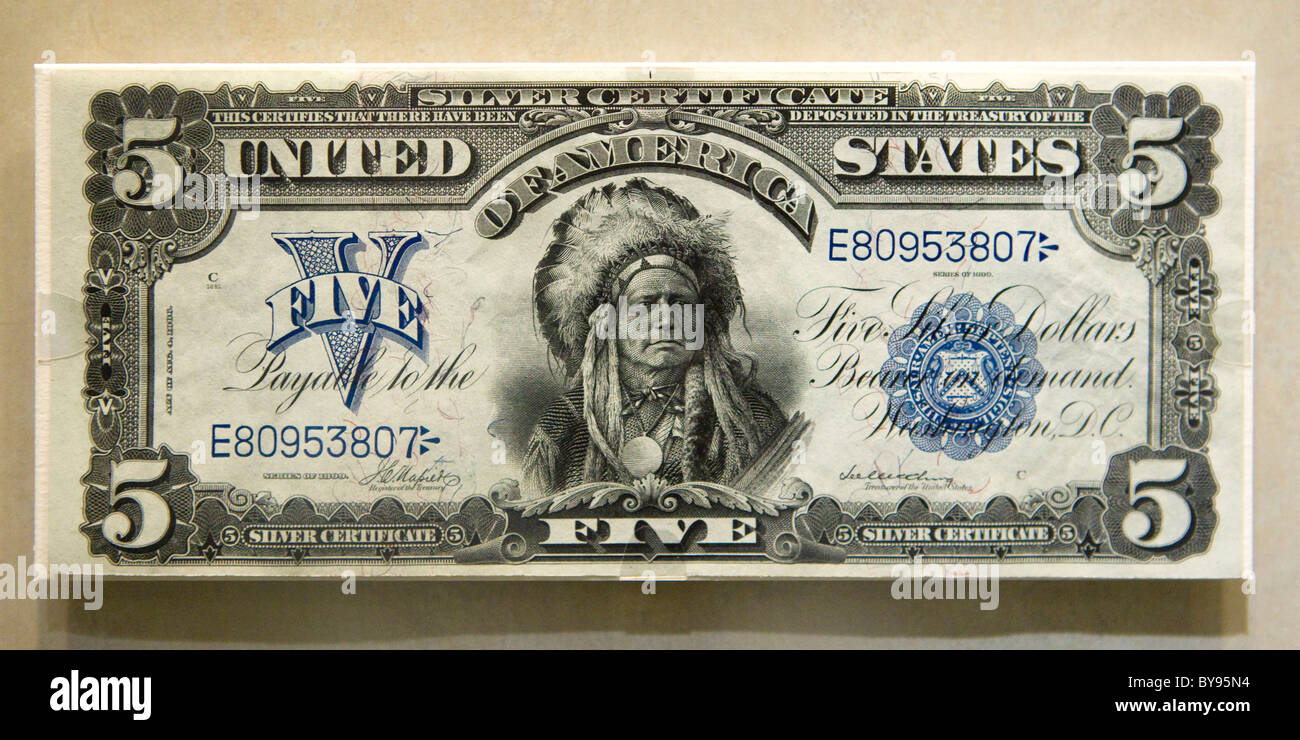 Obverse view of rare 1899 $5 (The Chief Note)  American banknote - Stock Image