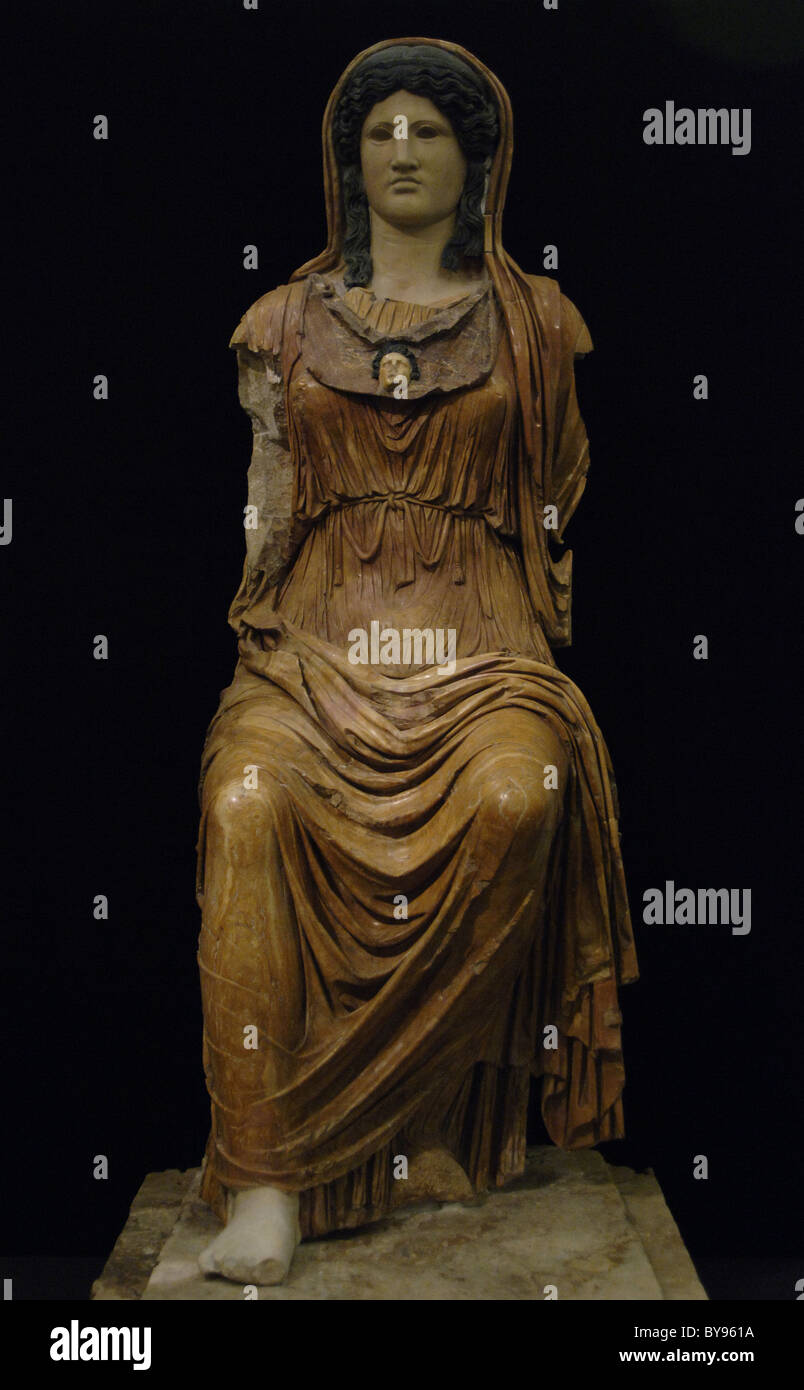 Minerva (Greek Athena). Goddess of War, Wisdom, Law and Agriculture. Seated statue of Minerva. - Stock Image