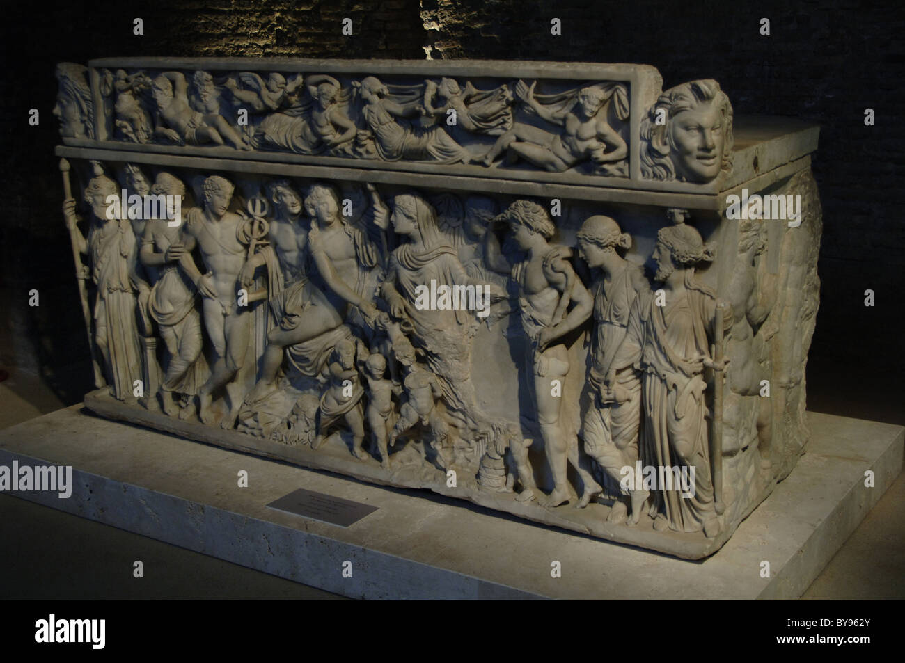 Sarcophagus depicting Dionysus and his wife, Ariadne. Stock Photo
