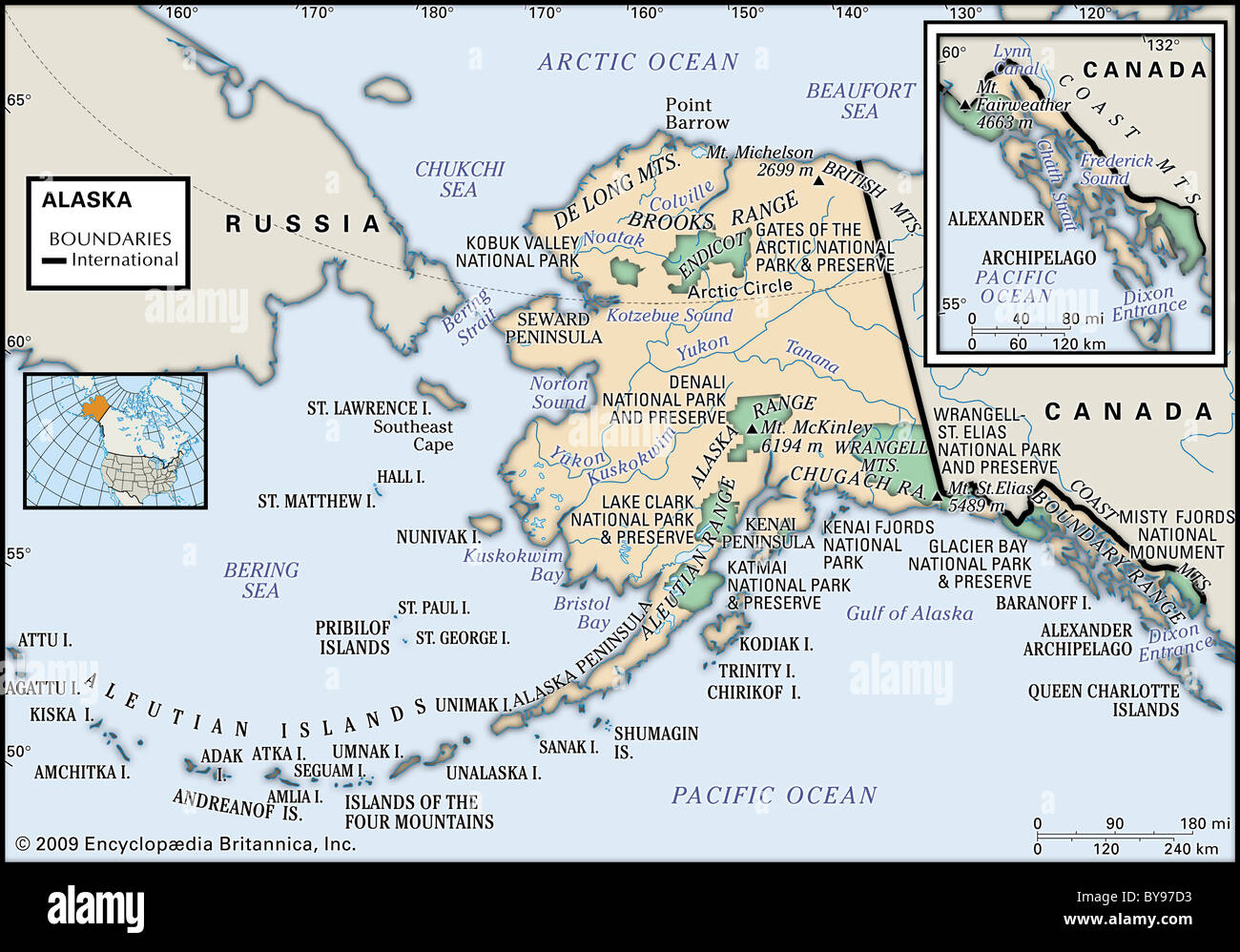 Physical map of Alaska Stock Photo: 34009503 - Alamy