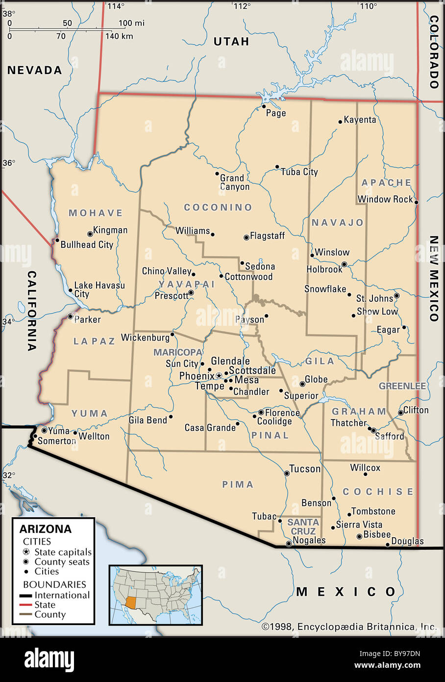 County Map Of Arizona With Cities.Political Map Of Arizona Stock Photo 34009521 Alamy