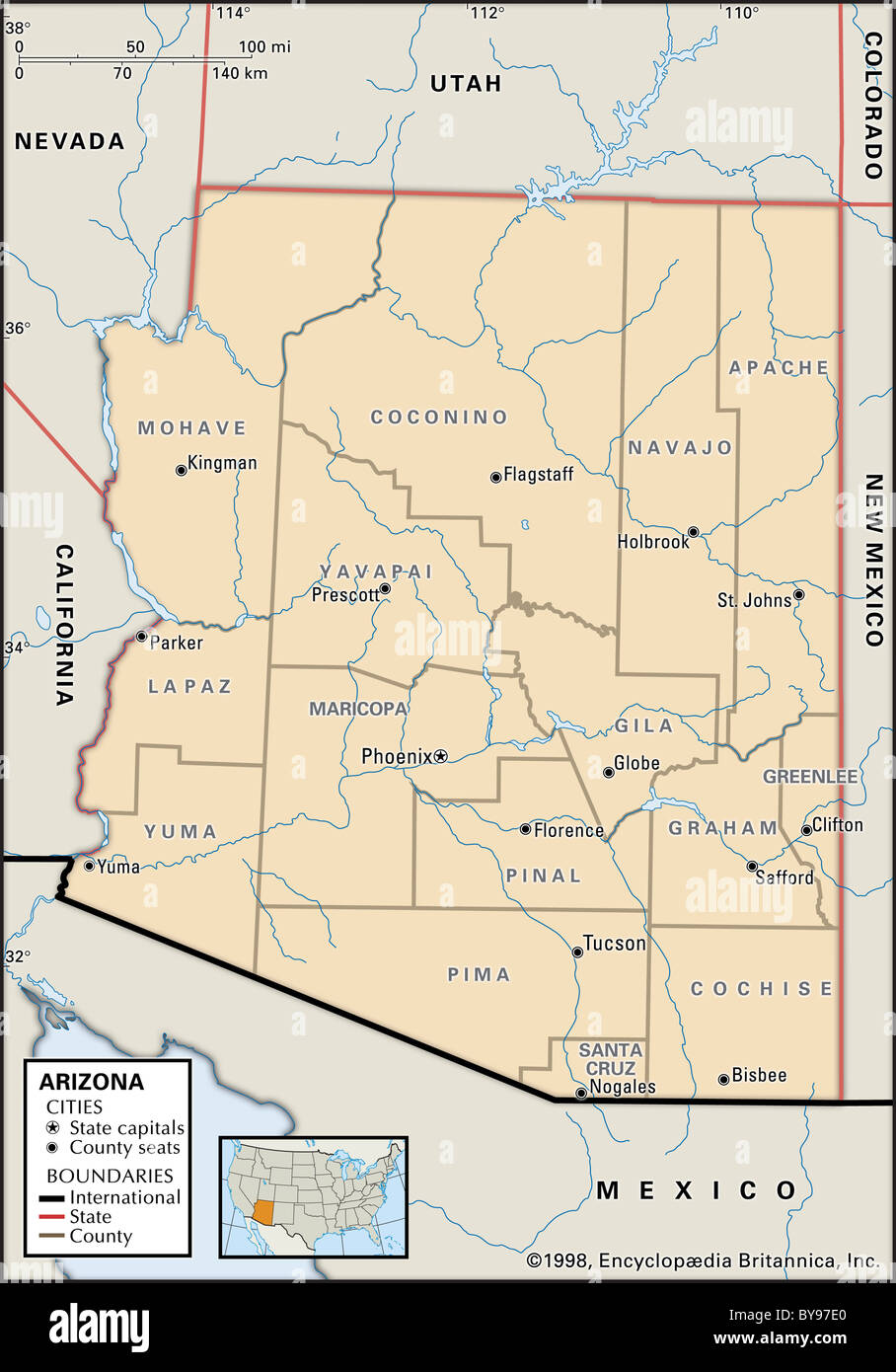 Map Of Arizona And Cities.Arizona Map Stock Photos Arizona Map Stock Images Alamy