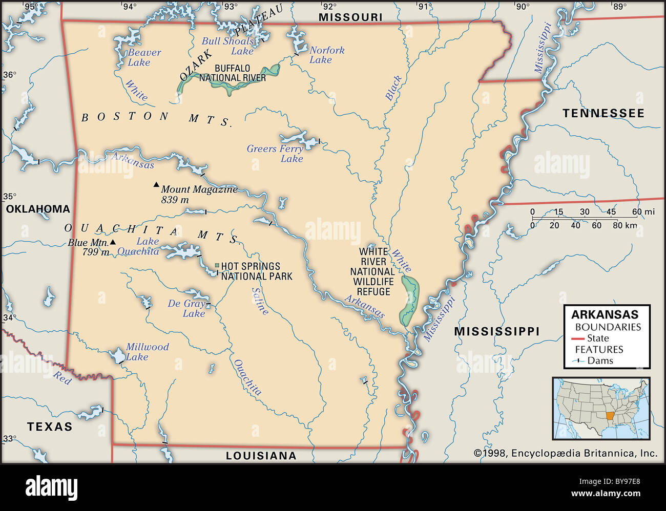 Physical map of Arkansas Stock Photo: 34009536 - Alamy on