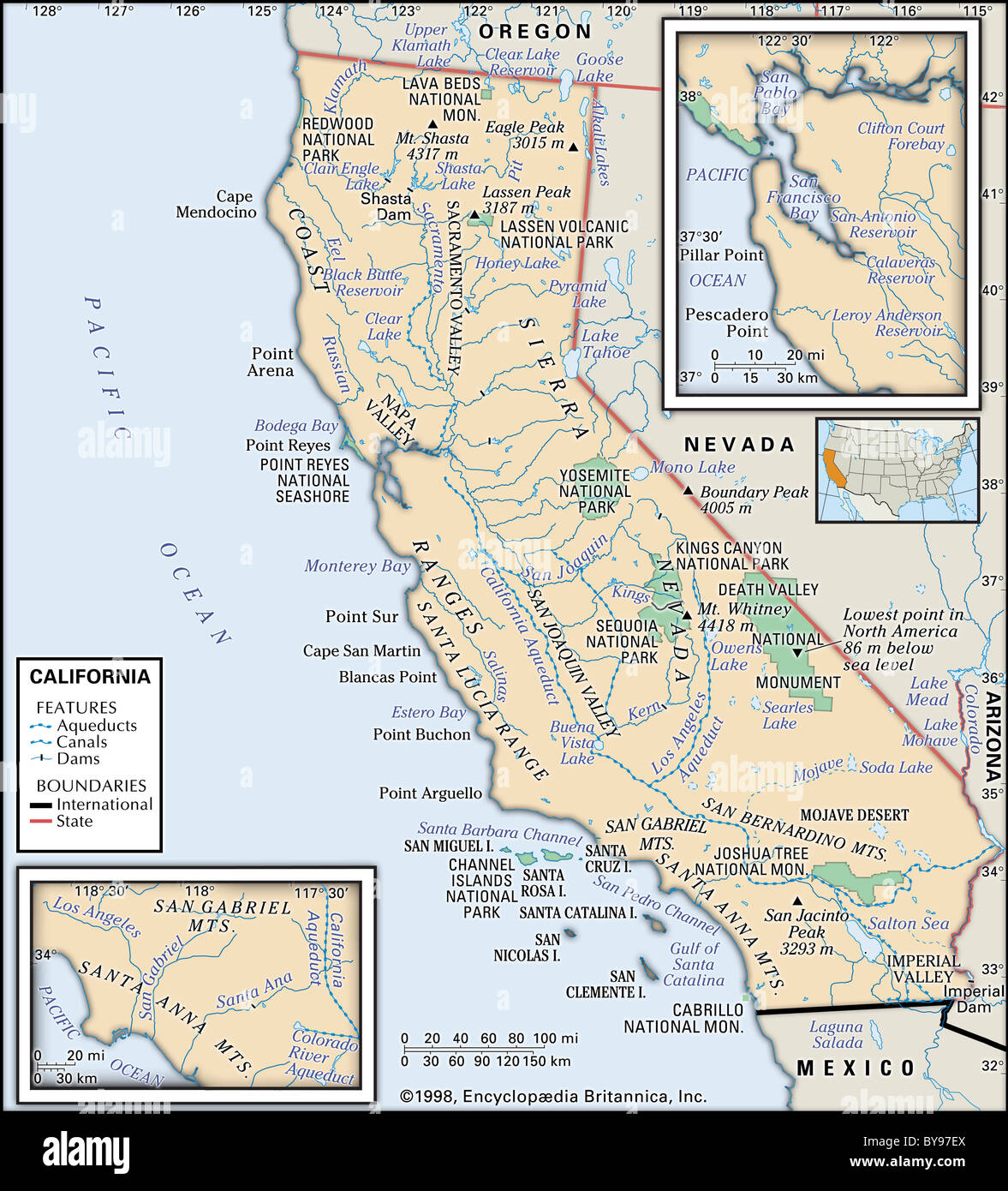 Physical map of California - Stock Image