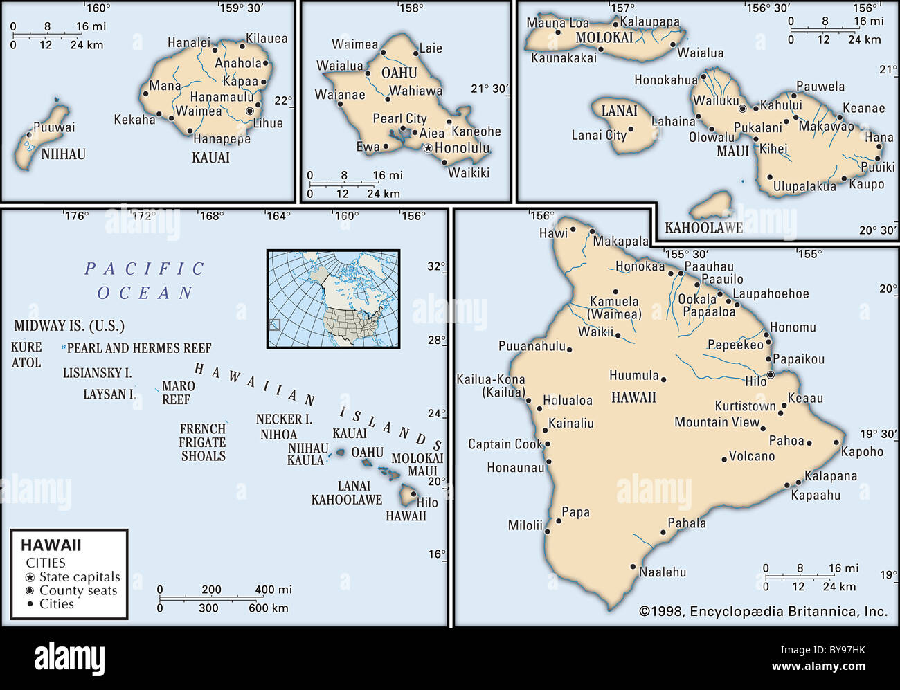 Picture of: Political Map Of Hawaii Stock Photo Alamy