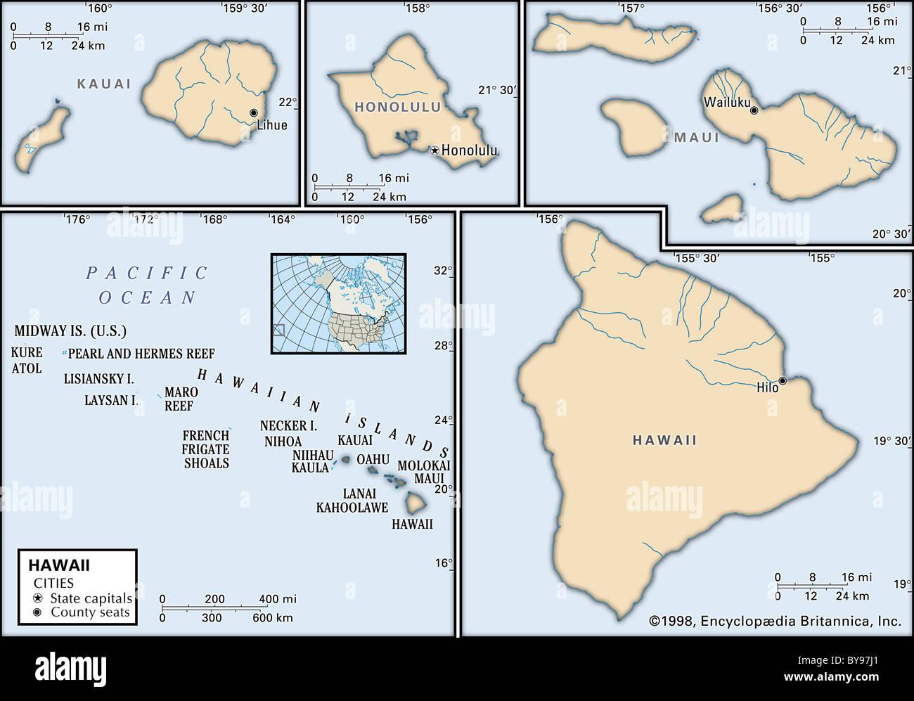 Political Map Of Hawaii Stock Photo Alamy