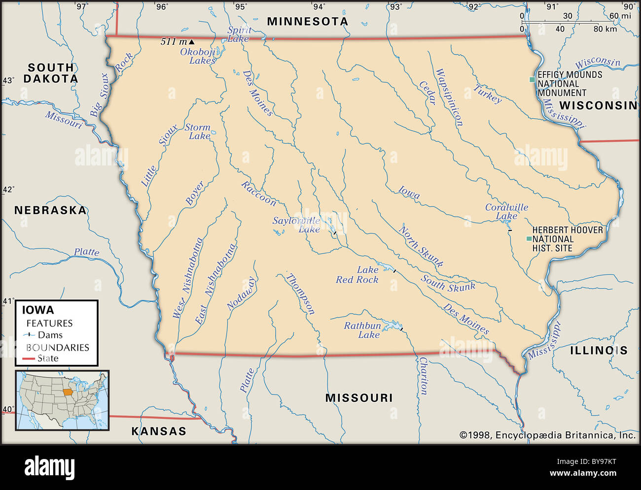 Physical map of Iowa Stock Photo 34009692 Alamy