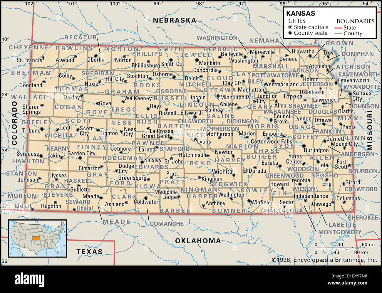 Political map of Kansas Stock Photo: 34009732 - Alamy