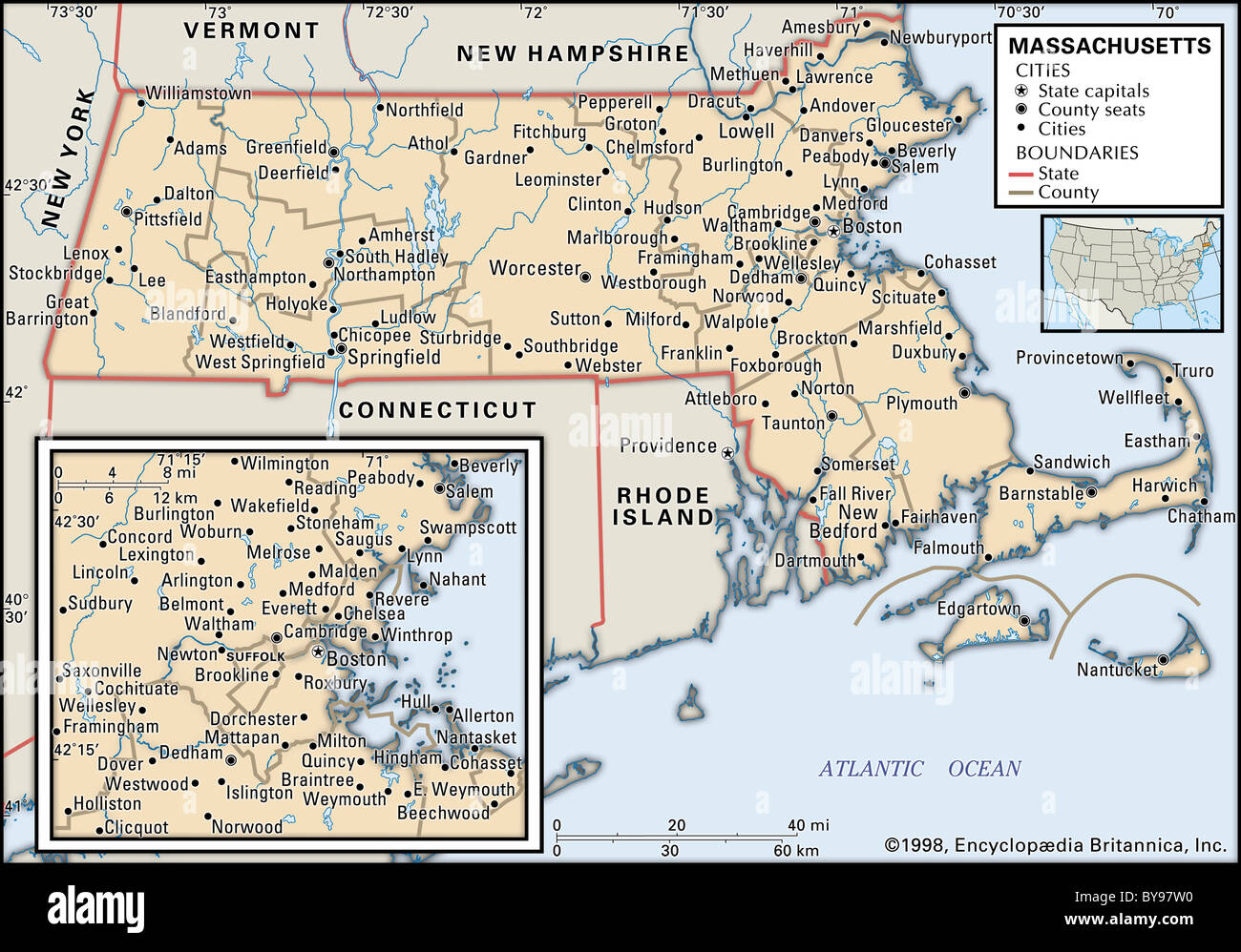 Map Of Massachusetts Stock Photos Map Of Massachusetts Stock
