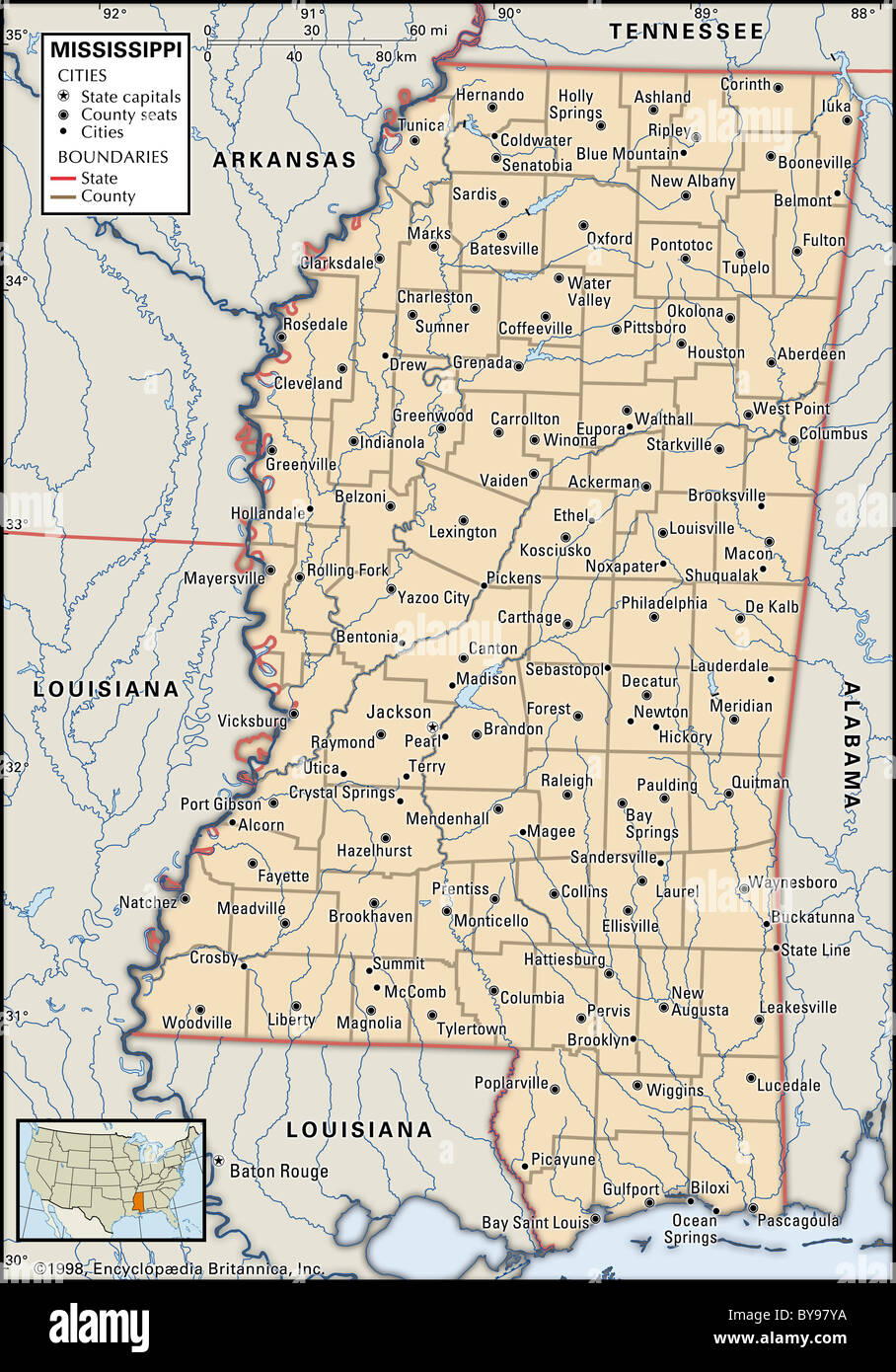 Political map of Mississippi Stock Photo: 34009902   Alamy