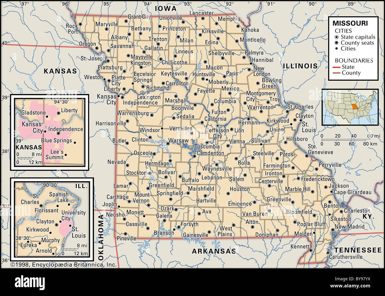 Political Map Of Missouri Stock Photo 34009918 Alamy