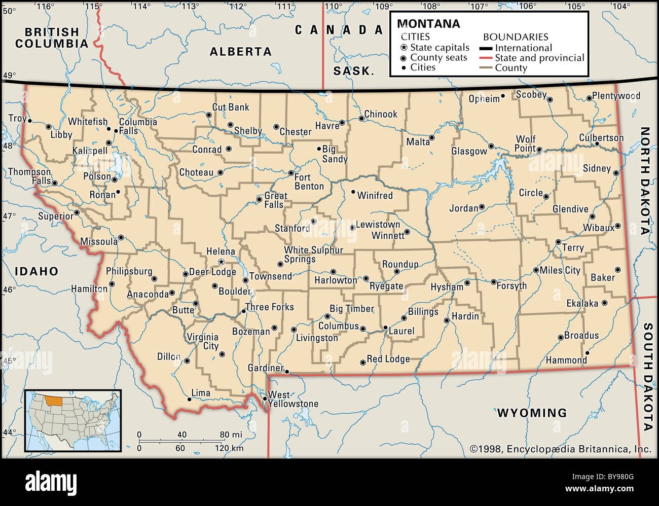 Political map of Montana Stock Photo: 34009936   Alamy