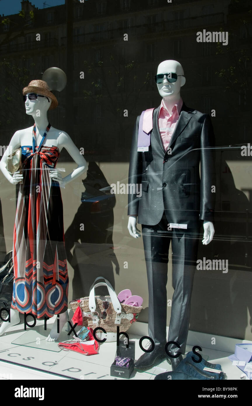 Paris, France, Mannequins on display in Fashion Store Front Window, Shopping, - Stock Image