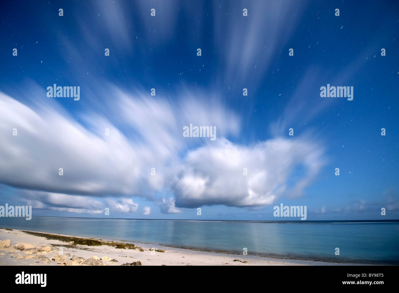 Nighttime, moonlit view of the beach and Indian Ocean (Mozambique channel) at Beheloka on the southwestern coast - Stock Image