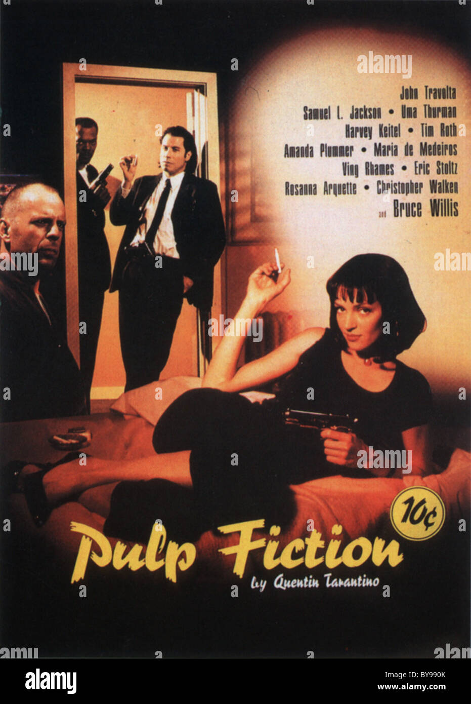Pulp Fiction  Year : 1994 - USA Director : Quentin Tarantino Uma Thurman  Movie poster  (USA)  Golden Palm - Stock Image