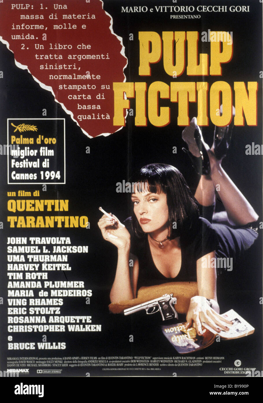 Pulp Fiction  Year : 1994 - USA Director : Quentin Tarantino Uma Thurman  Movie poster  (It)  Golden Palm Cannes - Stock Image