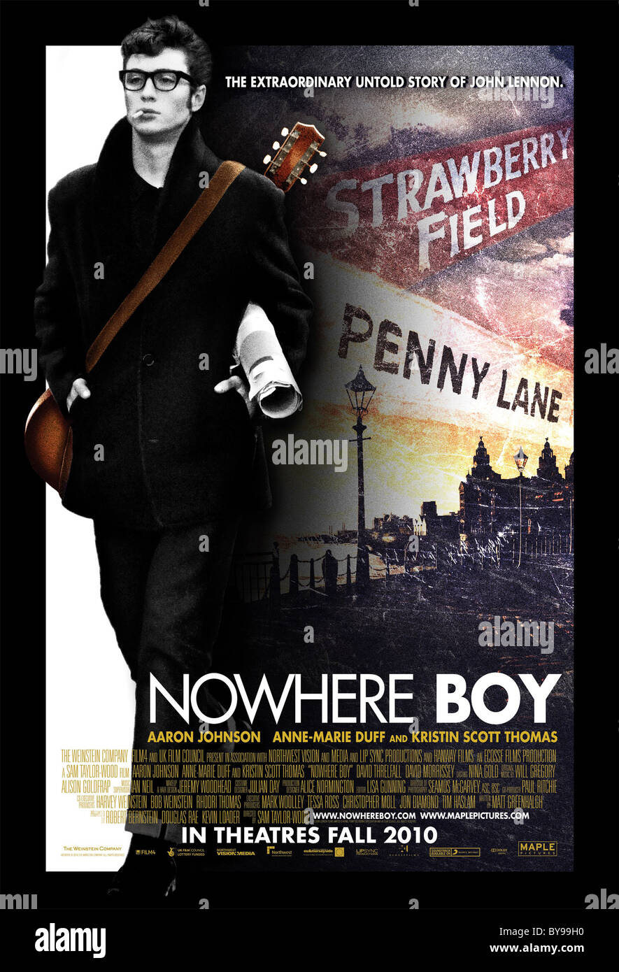 Nowhere Boy Year : 2009 UK / Canada Director : Sam Taylor-Wood Aaron Johnson Movie poster (Can) - Stock Image