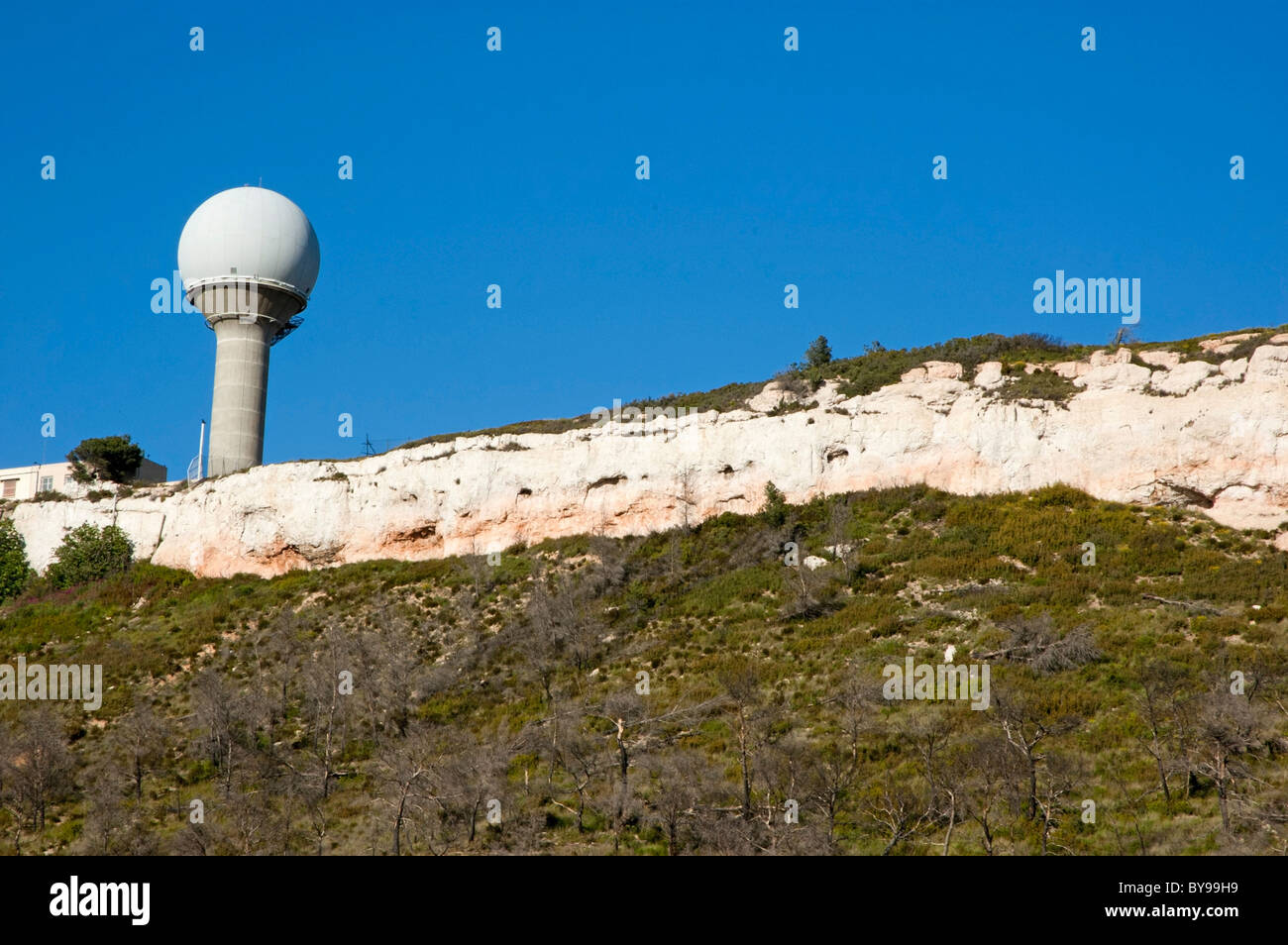 France Provence Vitrolles Meteorological Station Dome And Pink Cliff - Stock Image