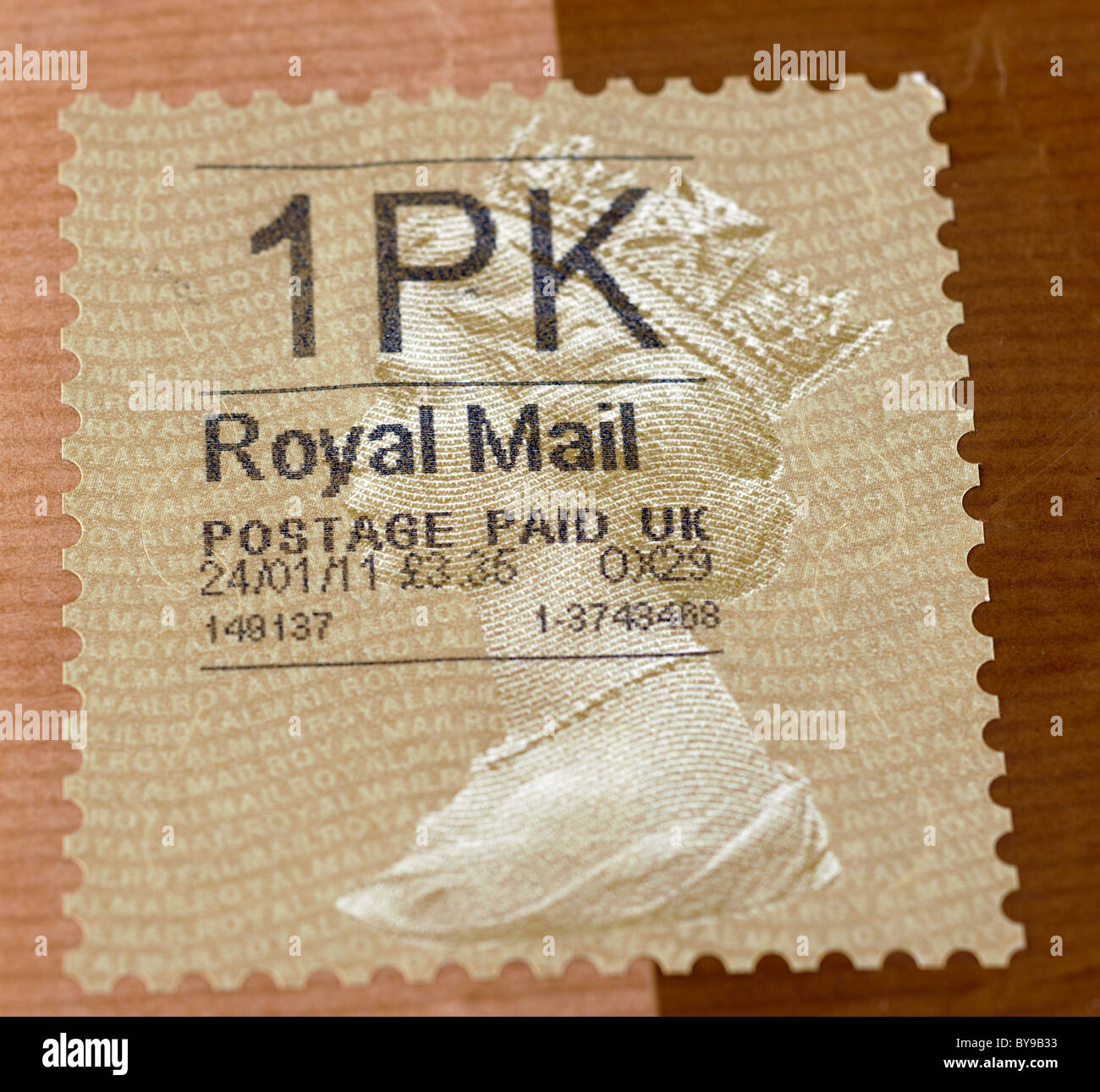Royal Mail Postage stamp on a packet costing £3.35 and dated 24/01/11. EDITORIAL USE ONLY - Stock Image