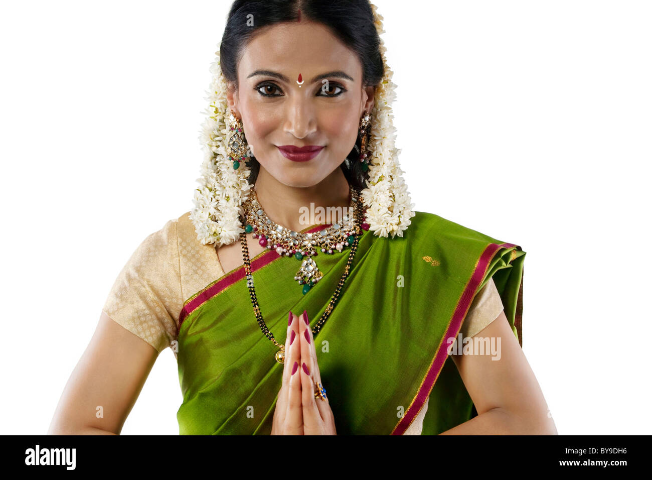 South Indian woman greeting - Stock Image