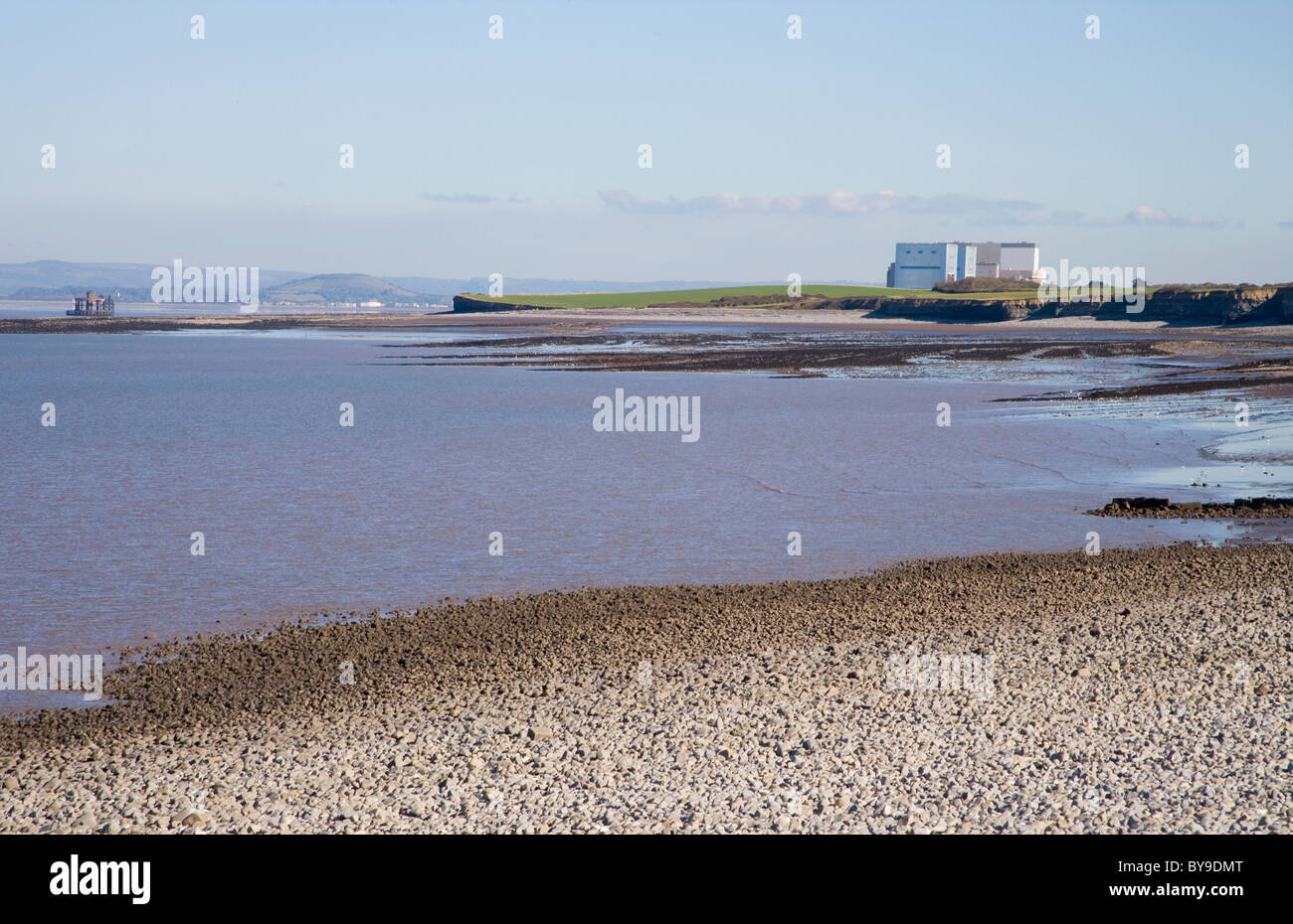 Hinkley point nuclear power station seen from Lilstock on the river severn - Stock Image