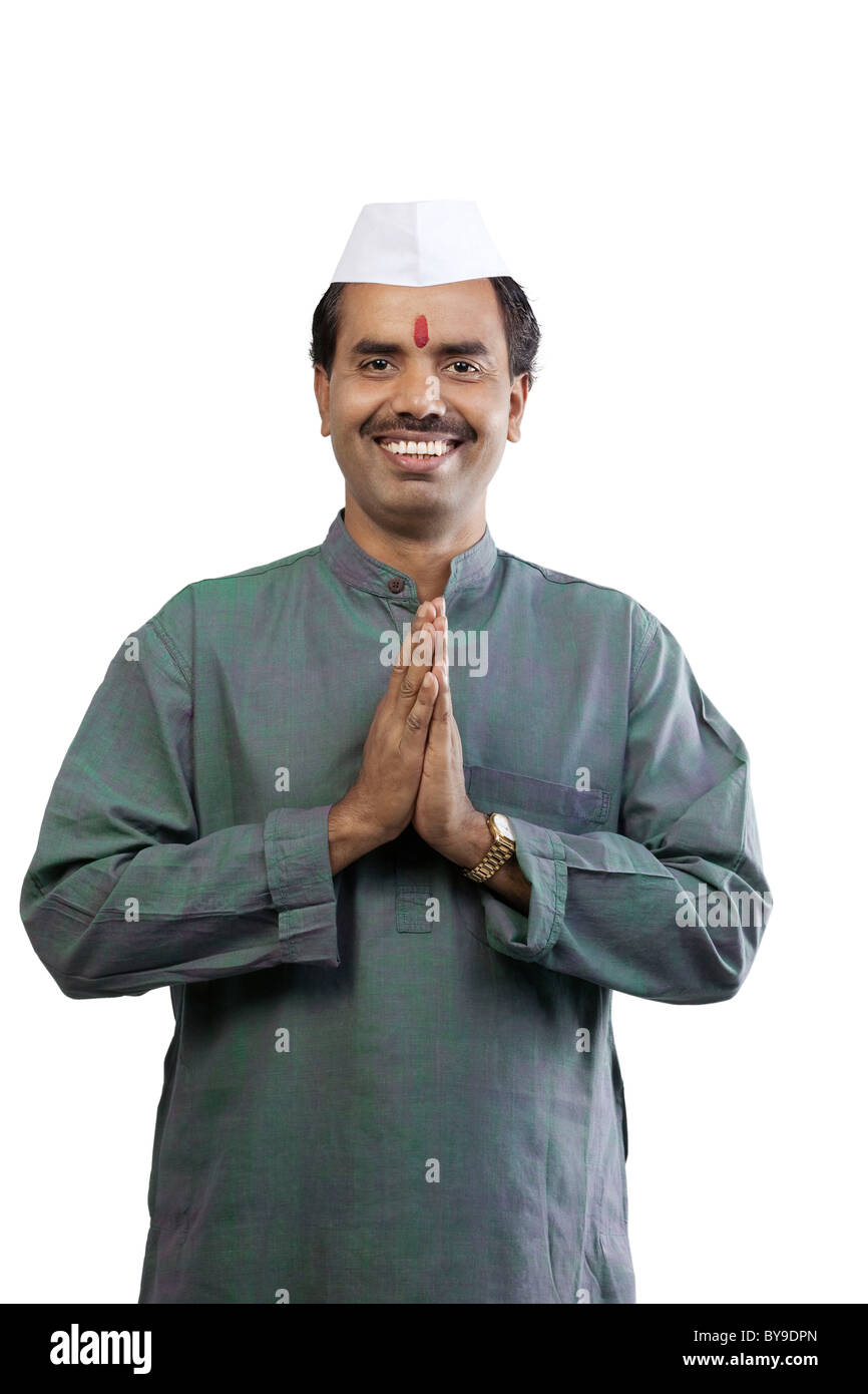 Indian man greeting - Stock Image