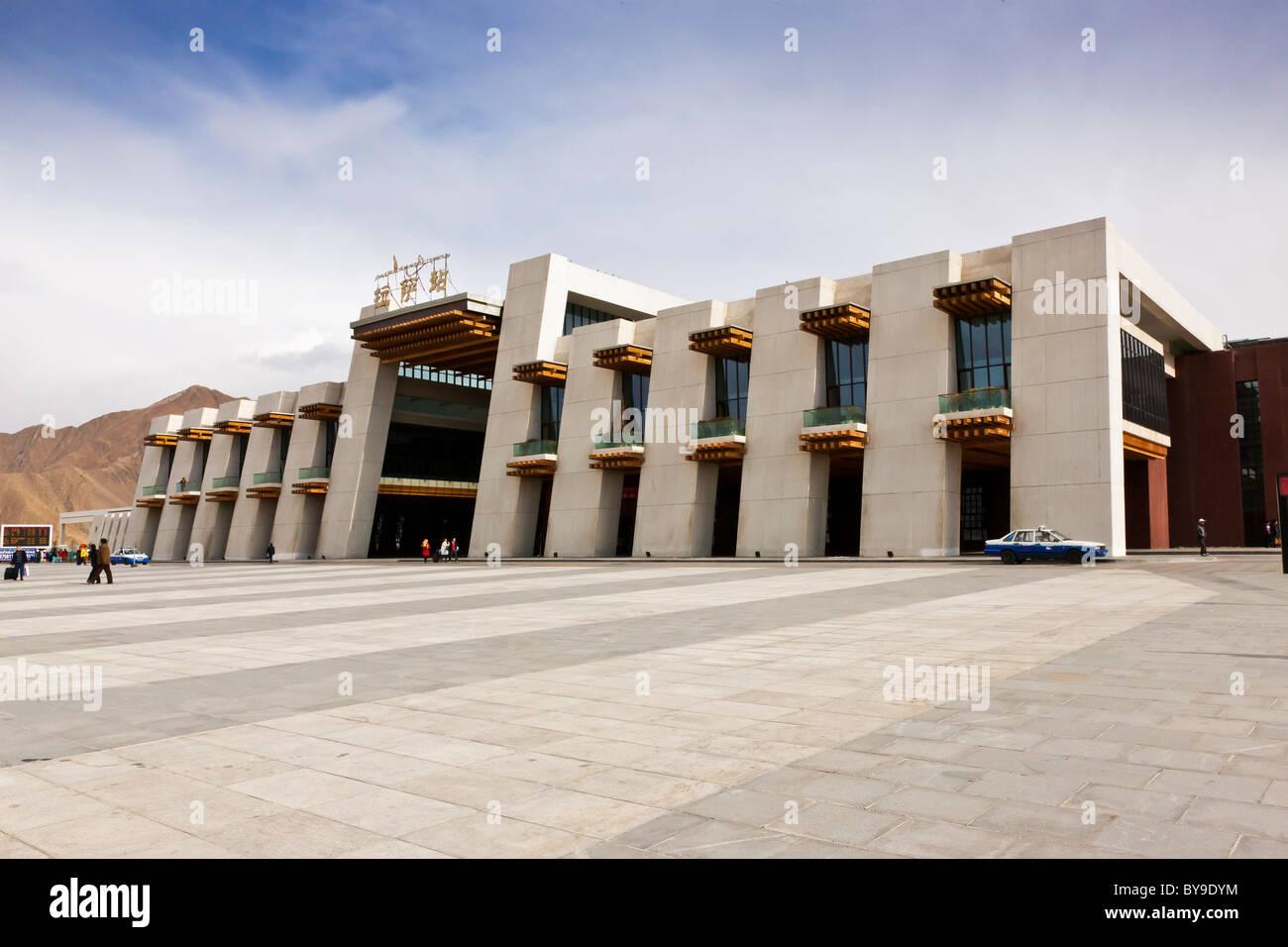 Exterior of the railway station Lhasa Tibet. JMH4612 - Stock Image