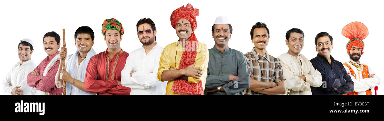Men of different Indian cultures - Stock Image