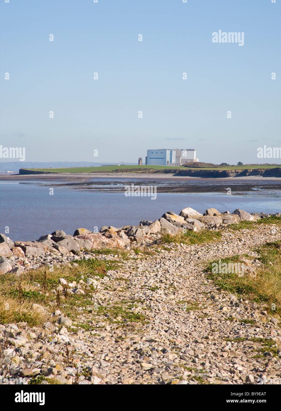 Hinkley point nuclear power station seen from Lilstock on the river severn Stock Photo