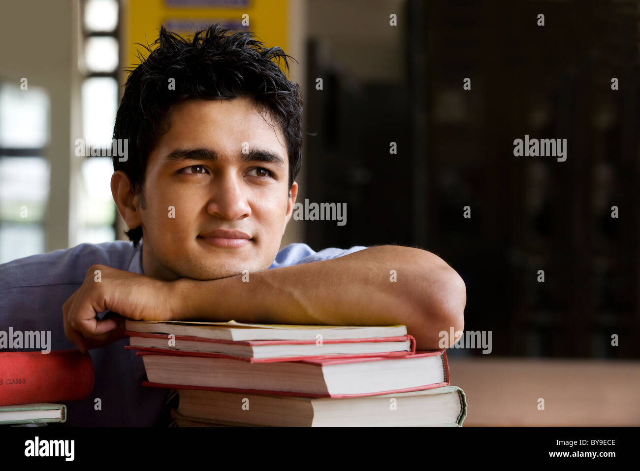 Boy in a school library Stock Photo