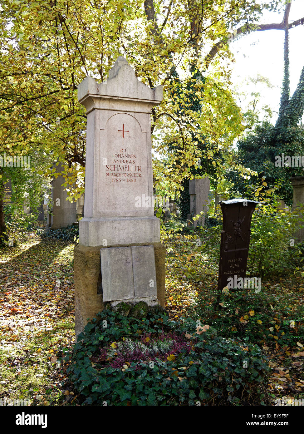 Grave of J. A. Schmeller (1785-1852), Southern Cemetery Munich, Upper Bavaria, Bavaria, Germany, Europe - Stock Image