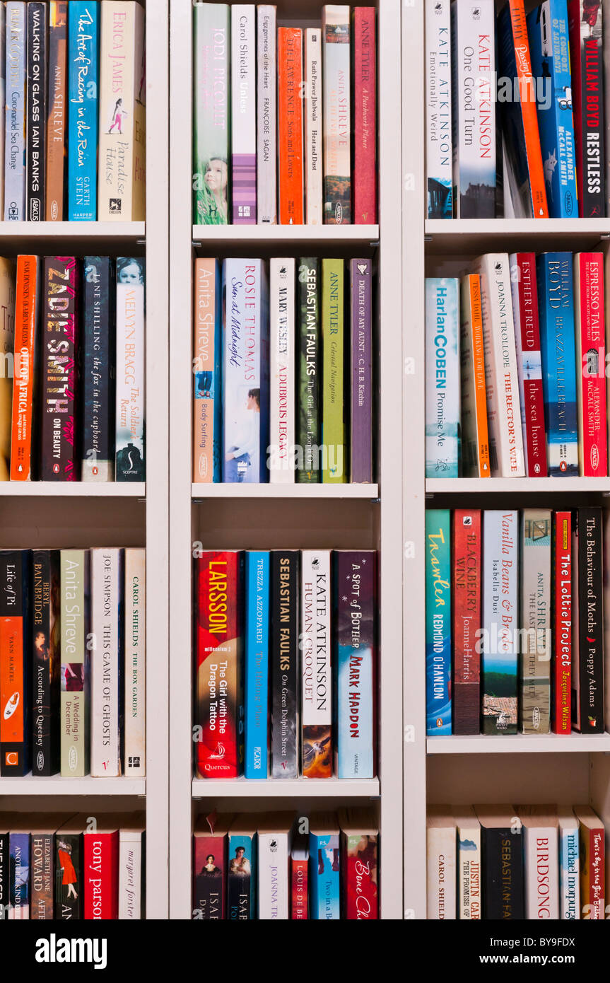 Book shelves with books - Stock Image