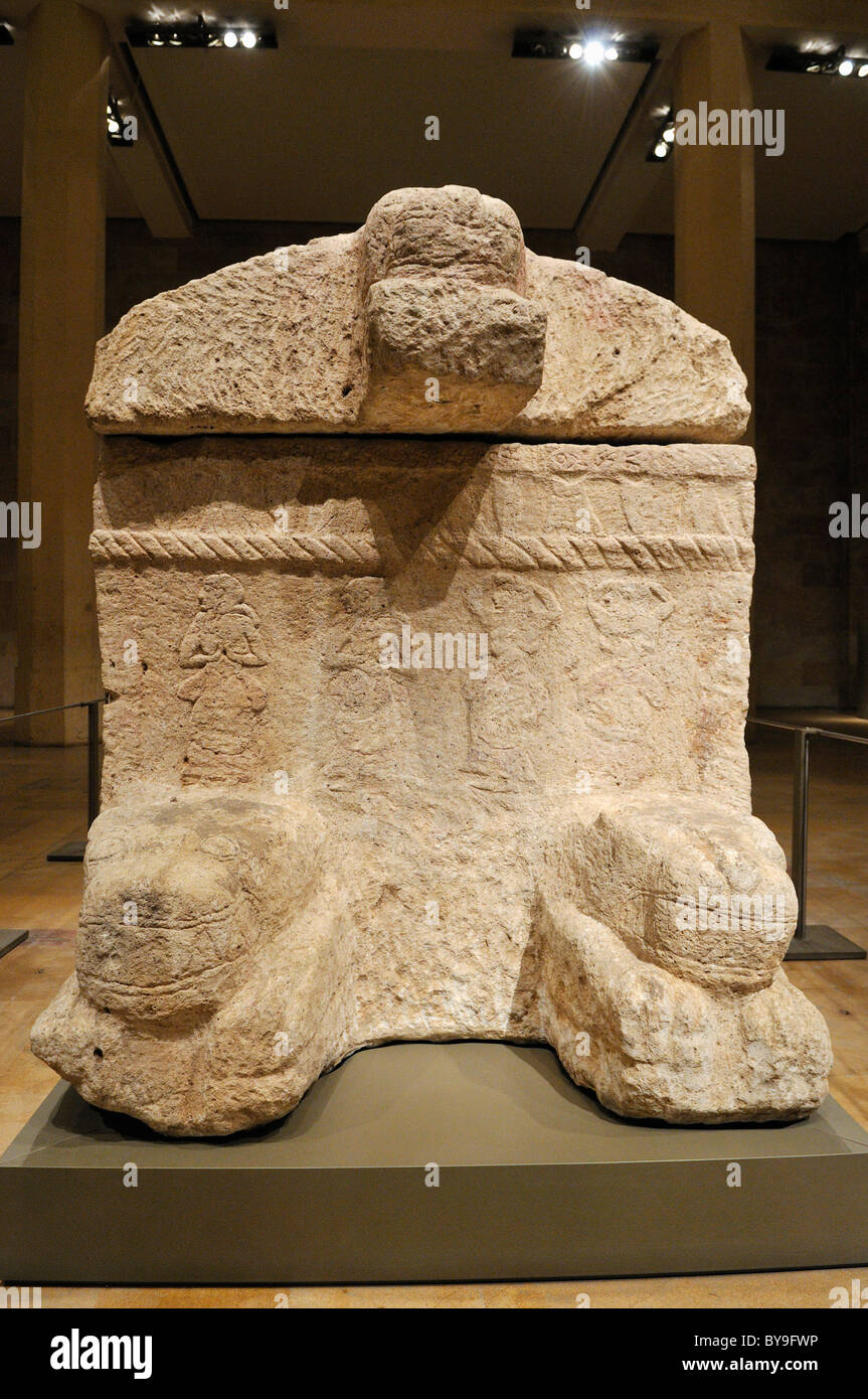 Antique stone sarcophagus of King Ahiram from Byblos, National Museum, Beirut, Beyrouth, Lebanon, Middle East, West Stock Photo