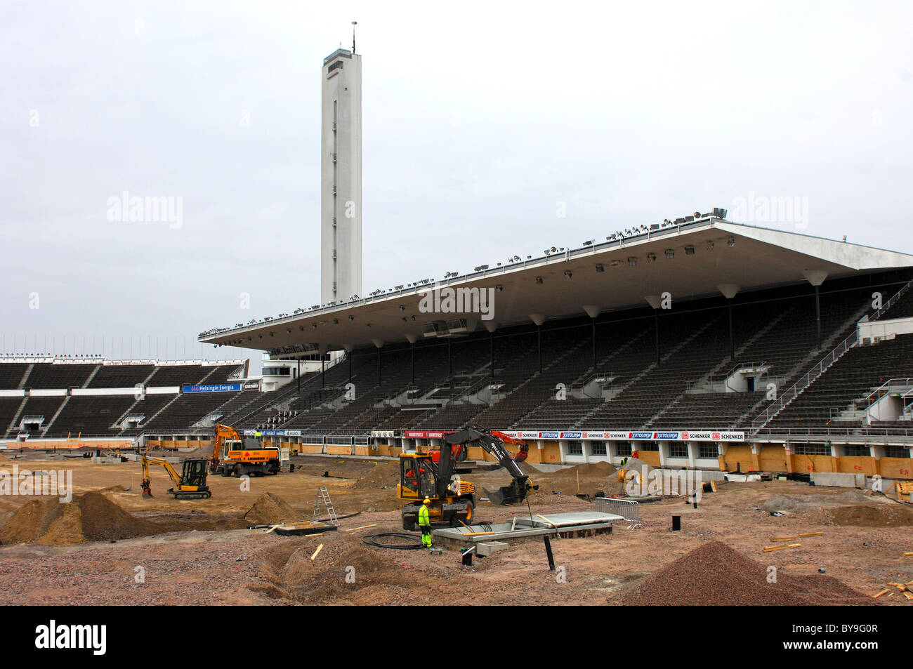 Structural alteration works, Olympic Stadium, Helsinki, Finland, Europe - Stock Image