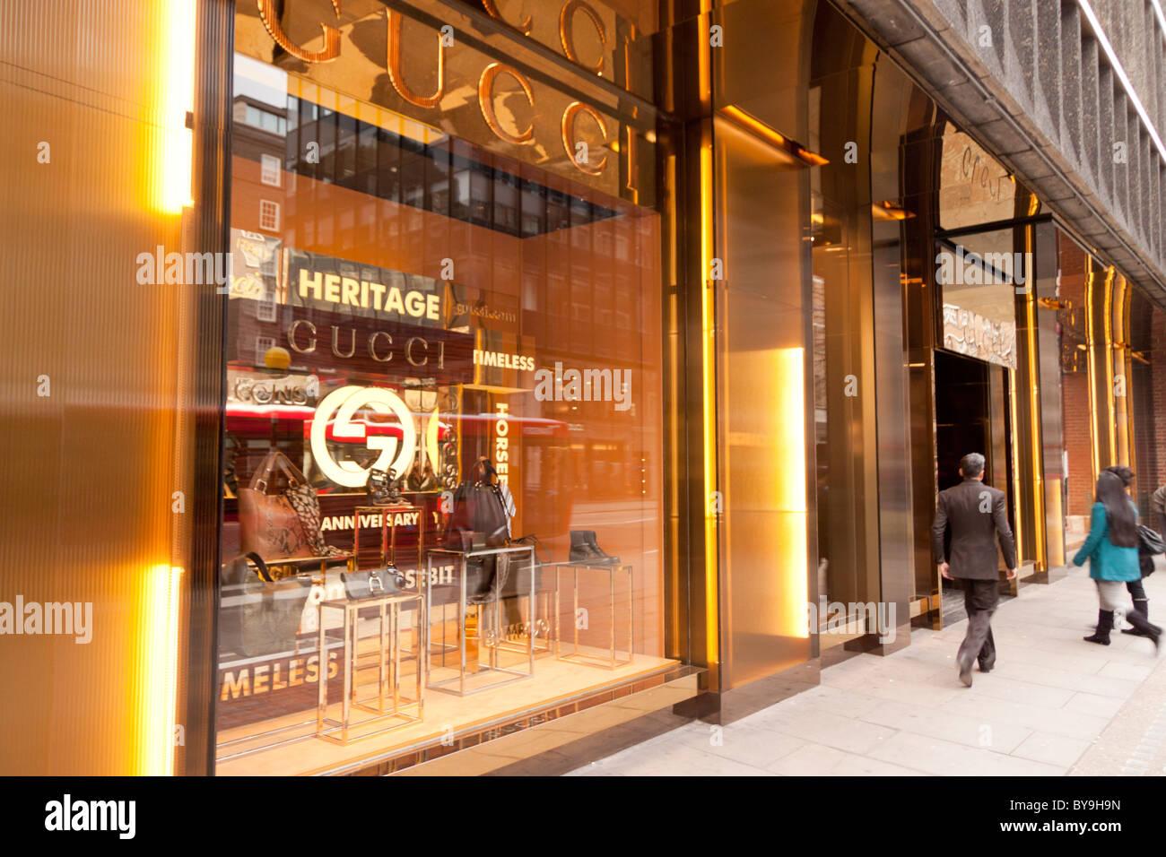 The golden decor of the Gucci designer store on Sloane Street,  Knightsbridge, London - d24b9b79bb1