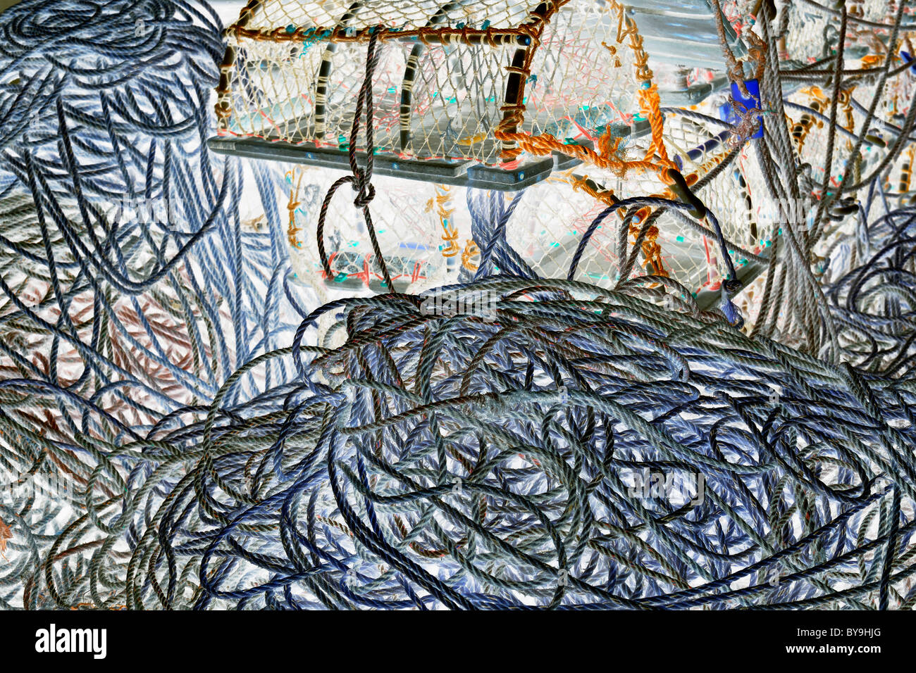 Digitally manipulated image of harbour-side ropes and crab-pots - Stock Image