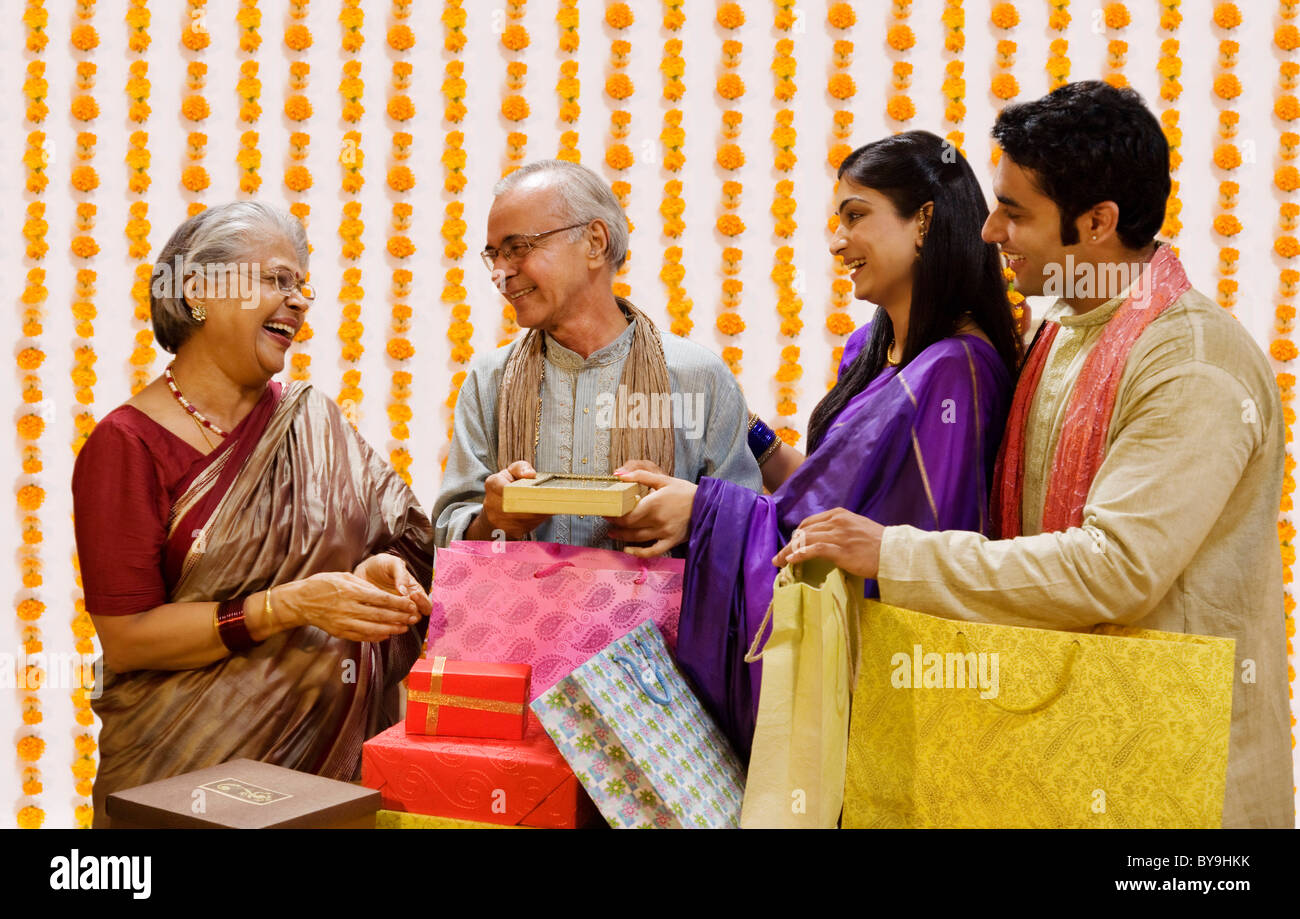 Family with Diwali gifts Stock Photo: 34017527 - Alamy for Diwali Gifts For Family  103wja