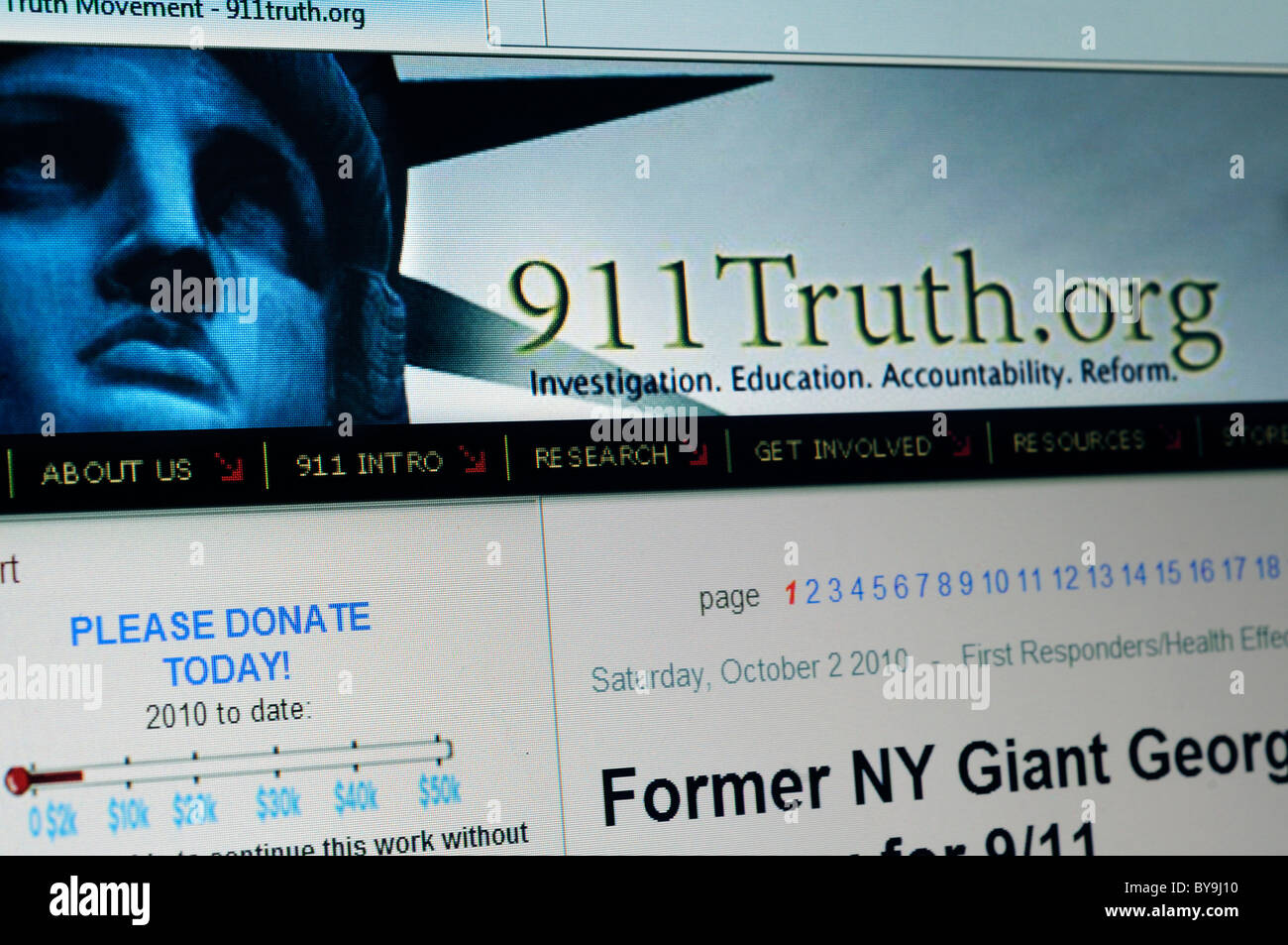 The 911 Truth website - Stock Image