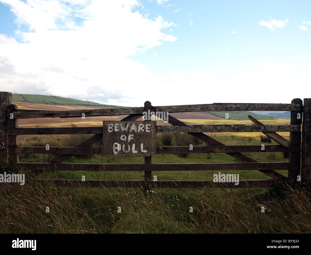 A sign on a fence that reads: Beware of Bull, honest is the best policy. - Stock Image