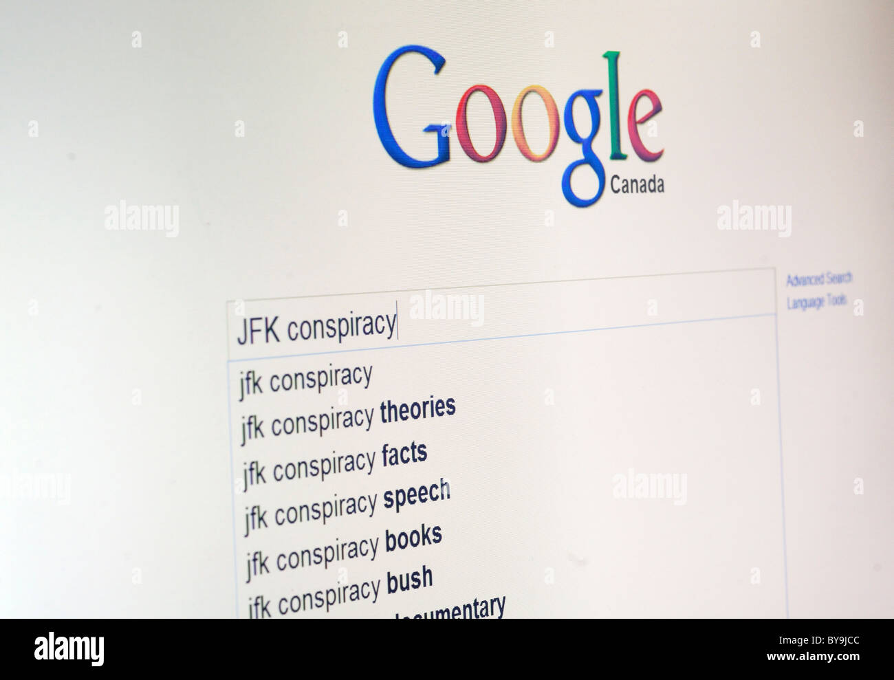 A google search for JFK conspiracy theories - Stock Image