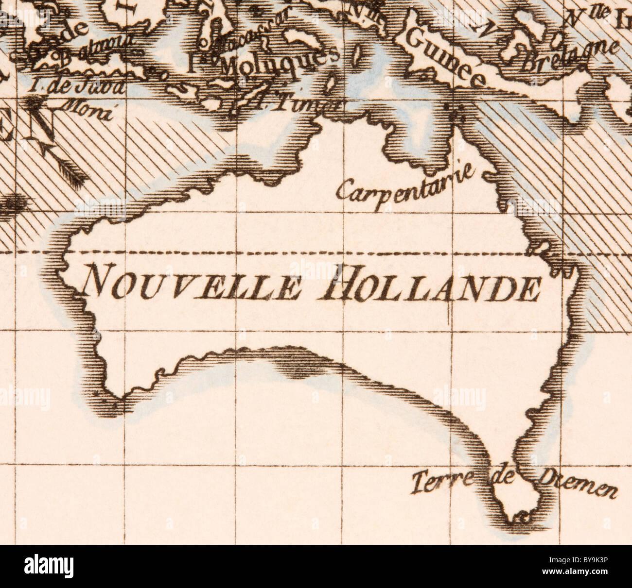 Australia circa 1760. Mercator projection. - Stock Image