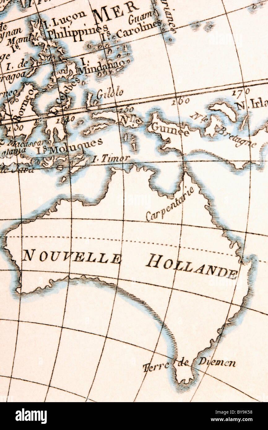 Australia circa 1760. - Stock Image