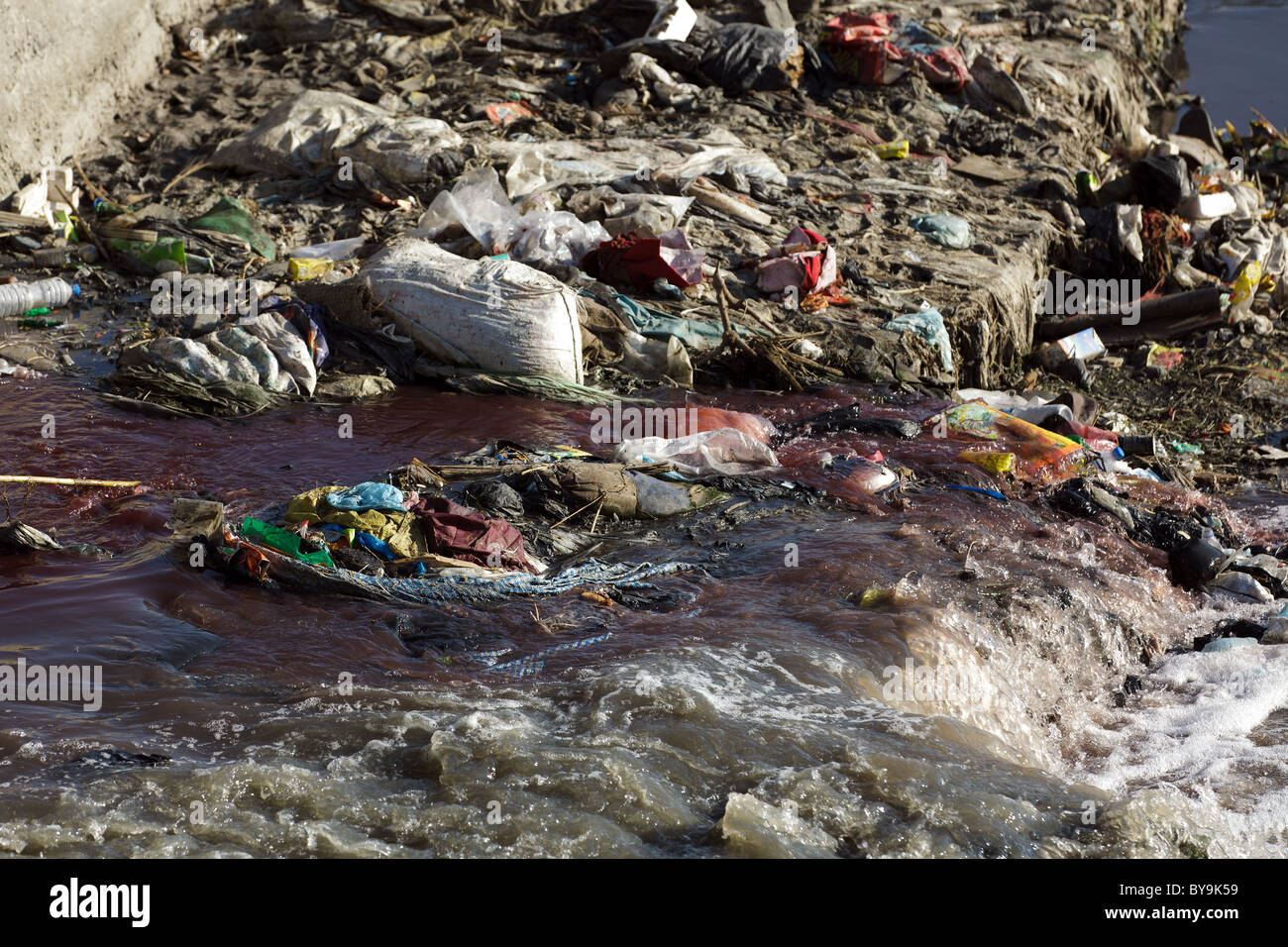 pollution in the river of kathmandu, nepal - Stock Image