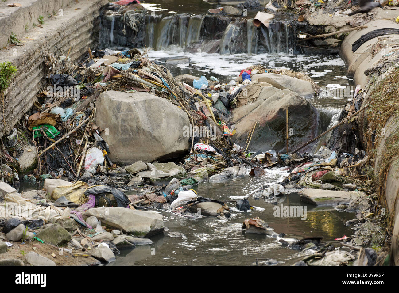 heavy pollution in the river, kathmandu, nepal - Stock Image