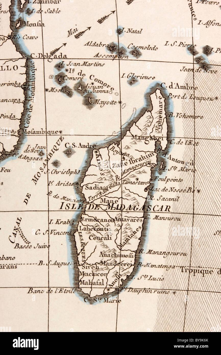 Madagascar and Comoros Islands circa 1760. - Stock Image