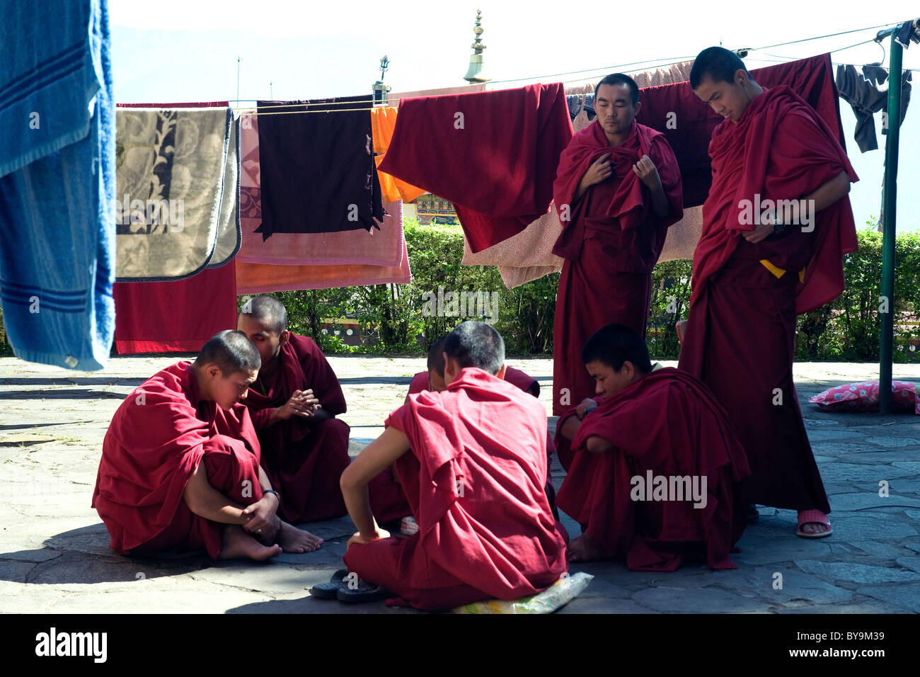Buddhist monks and novices relax over a board game among laundry lines beside the great Rumtek monastery in Sikkim Stock Photo