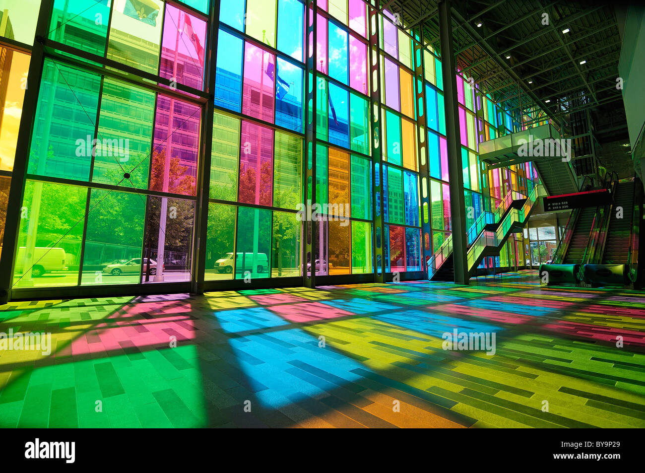 The Famous Coloured Glass Wall Of The Palais des Congress Montreal Canada Stock Photo