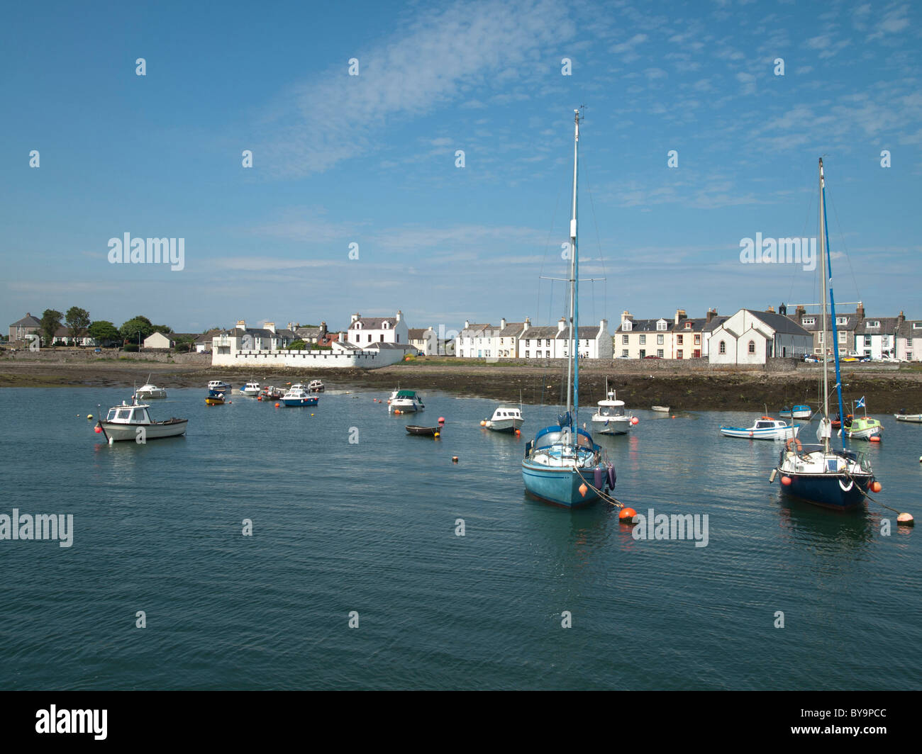 Sailing boats moored, Isle of Whithorn, Machars of Wigtownshire, - Stock Image
