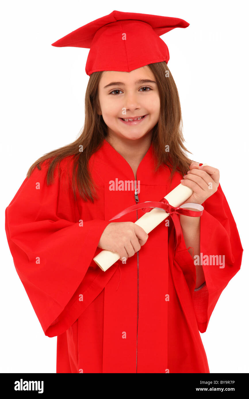 Attractive 7 year old girl in oversized large red graduation cap and ...