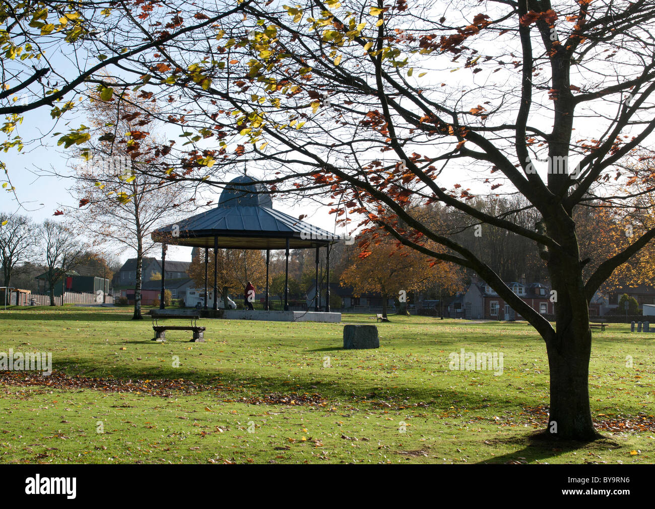 Dalbeattie Park and bandstand, kirkcudbrightshire - Stock Image